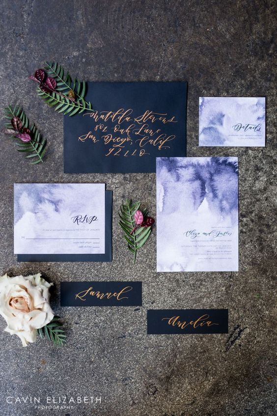 Purple watercolor and black wedding invitations with copper calligraphy from Twinkle and Toast:
