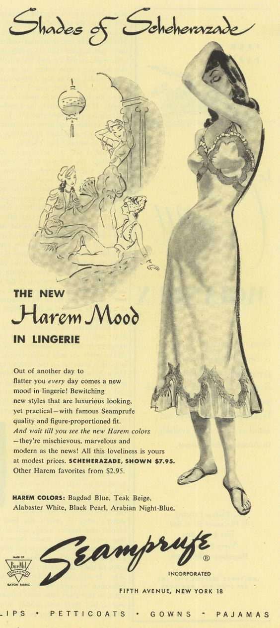 1949 Ad Seamprufe Inc Scheherazade Harem Mood Lingerie 5th Ave NYC Original Ad |