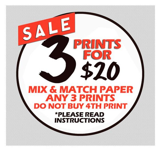Buy SPECIAL OFFER - Any 3 Prints for 20.00 Mix and Match Individual Prints by prudenceprint. Explore more products on http://prudenceprint.etsy.com