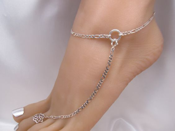 2 Heavy Sterling Silver Adjustable Anklets, Barefoot ...
