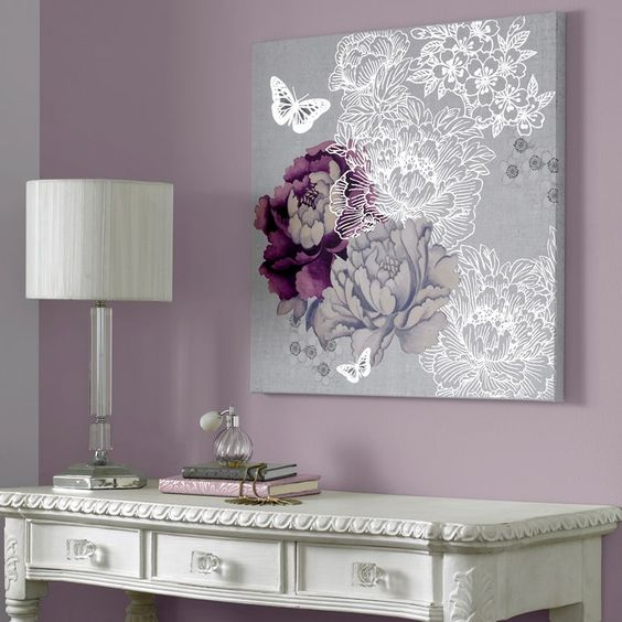 Monsoon - purple and silver flowers and butterflies canvas art Graham & brown: