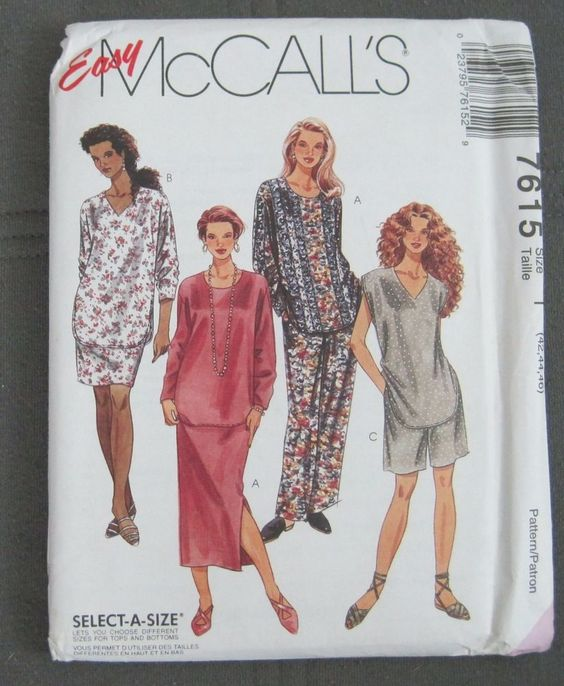 McCalls 7615 Pattern EASY Womans Tunic Skirt Pants Shorts 42 44 46 Plus Uncut #McCalls