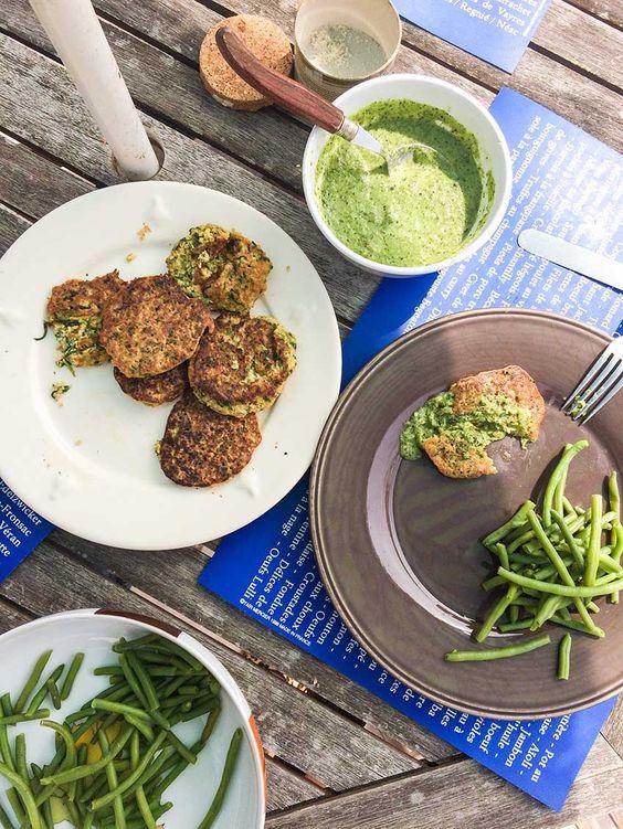 Galettes de millet aux épinards, sauce concombre basilic sans gluten ...