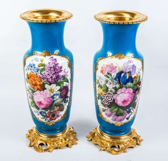 Gorgeous Pair of Porcelain Vases | From a unique collection of antique and…