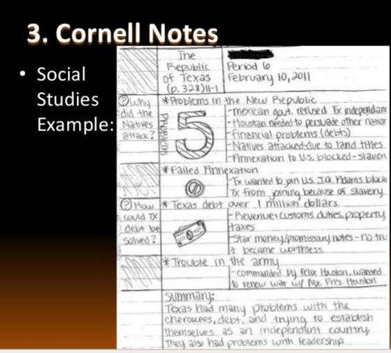 Example Cornell Notes Pinterest Cornell notes - sample cornell note