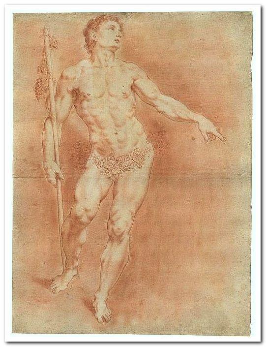 Cipriani, Giovanni Battista: Stehender nackter Jüngling - Bacchus mit Thyrsosstab