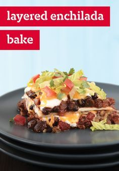 """Layered Enchilada Bake – Back-to-school dinnertime planning is right around the corner and this is the recipe you've been looking for. All the savory flavors of enchiladas without all the rolling. The whole family will want to customize their toppings for a delicious spin on homemade """"takeout."""""""
