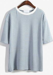 Round Neck Striped Loose Sky Blue T-Shirt