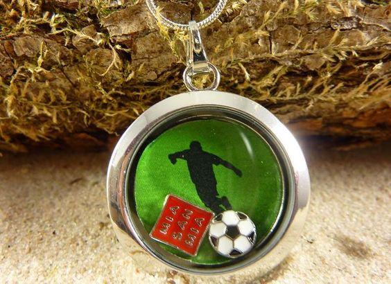 Kette Floating Charms  Halskette Fußball von Beads-for-Beginners auf DaWanda.com
