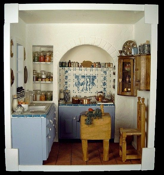 "Room Box Number 17 - Kitchen (For detailed pics, please see my ""Dollhouse Kitchen Pantry Scenes / Items"" board)"