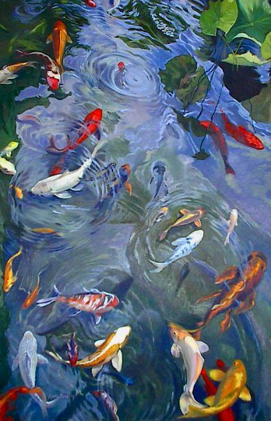 Koi koi art and ponds on pinterest for Koi fish japanese art