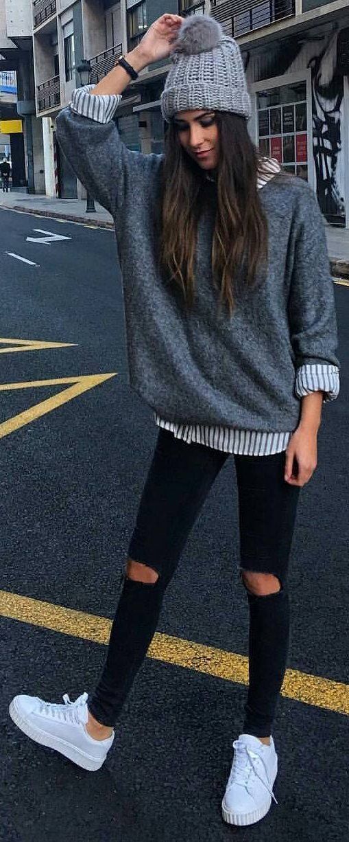 #winter #fashion /  Grey Beanie & Knit / Striped Shirt / Destroyed Skinny Jeans / White Sneakers:
