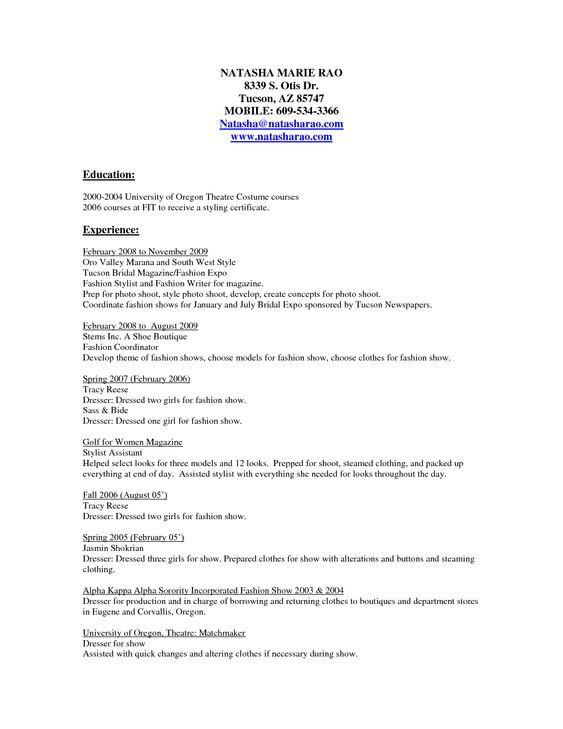 clothing stylist resume sles http www resumecareer