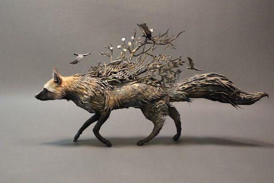 Silver Fox with Crows original OOAK by EllenJewettPrintShop