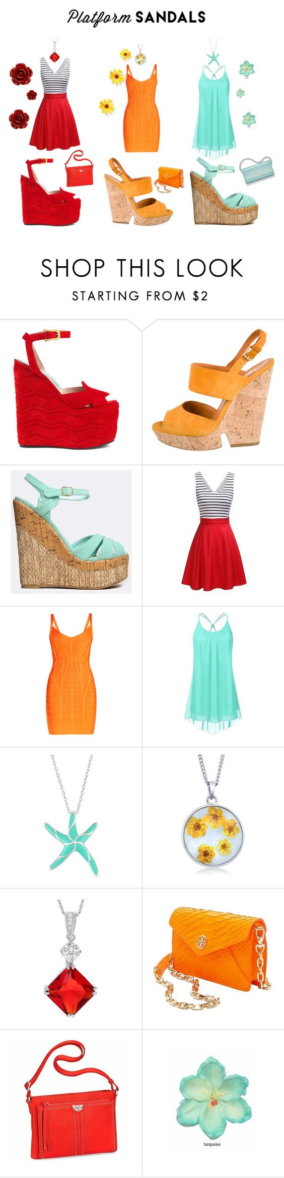 """Platform Sandals"" by deborahparker ❤ liked on Polyvore featuring Gucci, Yves Saint Laurent, Qupid, Hervé Léger, Journee Collection, Tory Burch, Brighton, Clips, Bling Jewelry and platformsandals"
