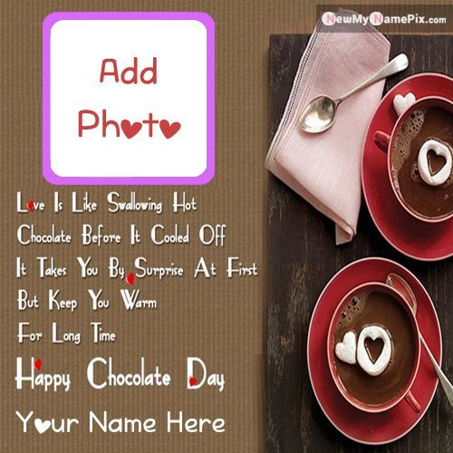 chocolate day greeting card love photo frame wishes