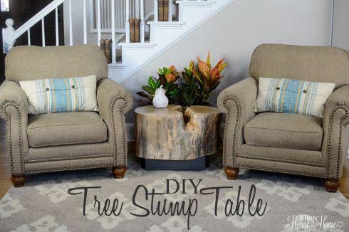 DIY Tree Stump Table W/ Industrial Metal legs
