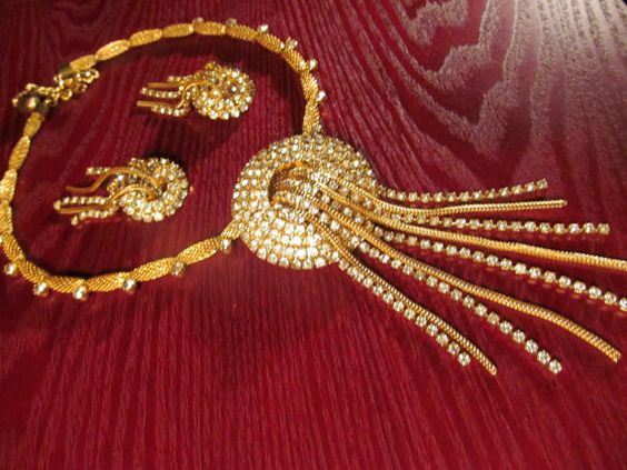 Vintage/ 70's/ MESH/ GOLD/ RHINESTONE/ Lady's/ Necklace/ Set/ Exquisite/ Gift/ For/ Her/ Unique/ Old Hollywood/ Festive/ Woman/ Jewelry