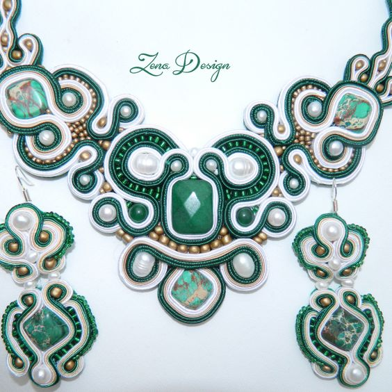 "New! Necklace and earrings soutache ""Emerald""   Zena Design"