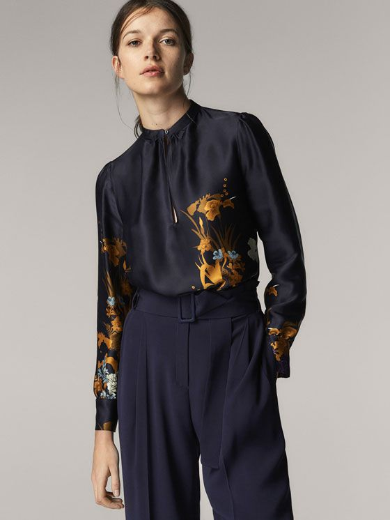 df03c7d6505 Fall Winter 2017 Women´s FLORAL PRINT SATIN SHIRT at Massimo Dutti for  54.95. Effortless elegance!