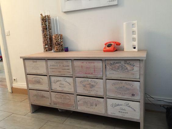 meuble caisses de vins salons confortables pinterest. Black Bedroom Furniture Sets. Home Design Ideas
