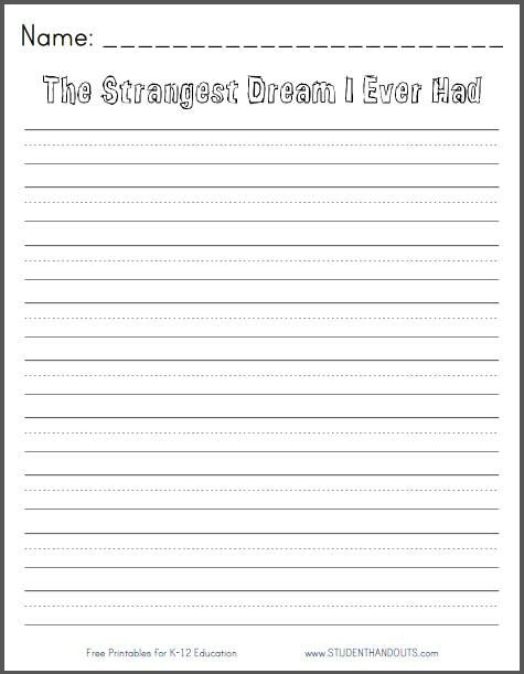 Printables Free Second Grade Language Arts Worksheets the strangest dream i ever had free printable writing prompt for first grade