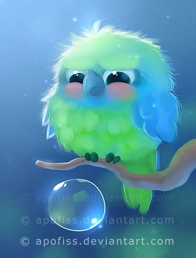 mini parrot by Apofiss.deviantart.com on @deviantART (Ahhhhh! It's soo cute. I love it.)