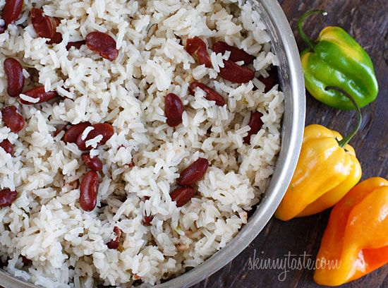 Carribean Rice and Peas  Coconut milk, thyme, scallions and scotch bonnet peppers give this rice dish an island flair! The perfect side dish to Jamaican Brown Stew Chicken, or enjoy this as a meatless main dish with a simple avocado and tomato salad on the side. Vegetarian, vegan and gluten-free!