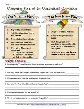 Printables Constitutional Convention Worksheet comparing plans of the constitutional convention virginia o constitution this simple but excellent worksheet compares key details