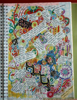 Put down masking tape before doodling and painting. Remove and then journal in the spaces.  Cool idea!