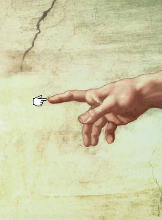 The Creation of... the Internet.  This is a great example of using new media to reinterpret familiar paintings.