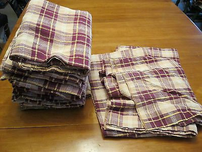 5 Pairs Vintage Cabin Woven Plaid Heavy Cotton Curtains Maroon