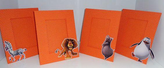 Porta Retrato Laranja - Festa de aniversário tema Madagascar - Lindo Centro de Mesa e Presente para convidados.