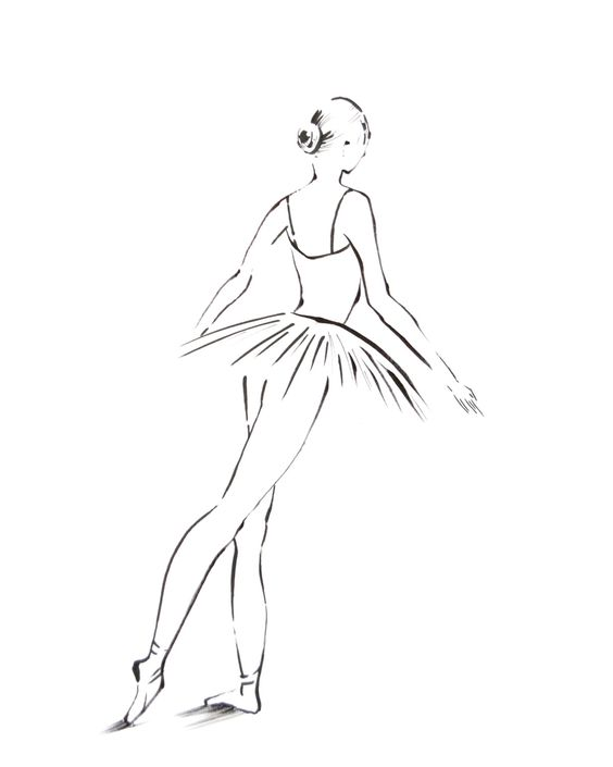 Line Drawing Etsy : Ballerina drawing art print minimalist black and