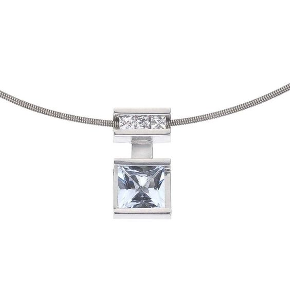Ever One Sterling Silver White and Topaz Pendant and Chain