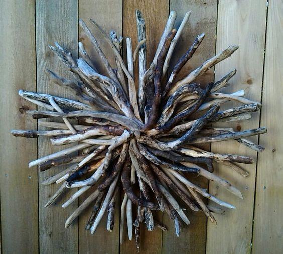 Driftwood Sunburst Wall Art Hand Made by BurlgirlCreations on Etsy