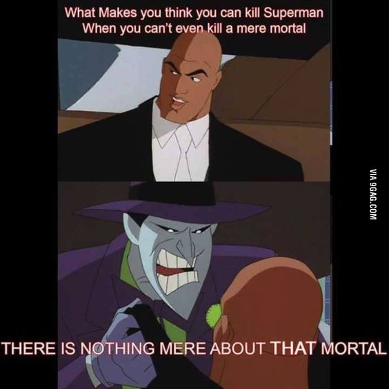 """""""Even the Joker thinks Superman is easier to kill than Batman..."""" I can't tell you how much I love the Batman/Superman Movie. It's just pure awesome."""