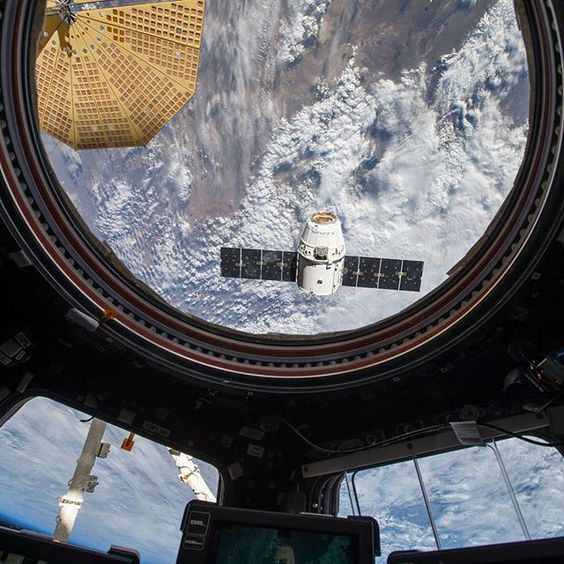 The SpaceX Dragon cargo craft, which launched April 8, approaches to be grappled by the International Space Station (@ISS) crew on April 10, when the spacecraft was captured and bolted to the orbiting complex. This view is from the Cupola where the primary controls of the Canadarm 2 are located. Crew members use the robotic arm to grapple the spaceship before berthing it to the Earth-facing port on the Harmony module. The spacecraft delivered about 7,000 pounds of science and research…