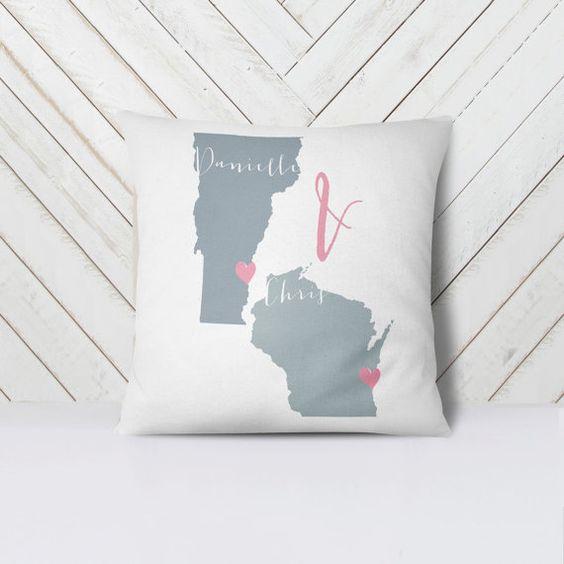 Custom throw pillow 16x16 states Personalized by MDBWeddings