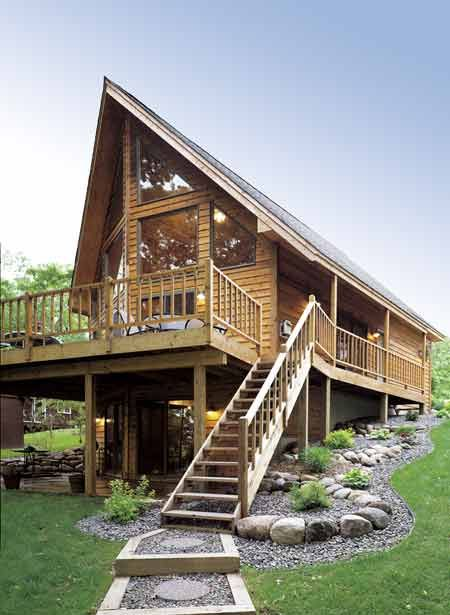 Enjoy the gorgeous gabled roof lap siding spacious deck for Chalet moderne plan