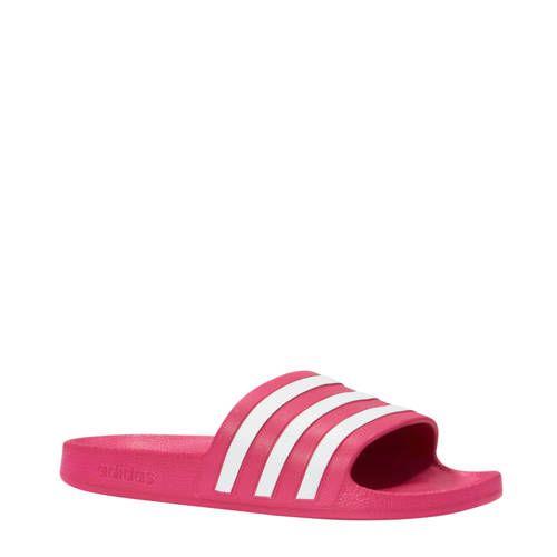 adidas adilette aqua badslippers roze/wit in 2020 - Adidas ...