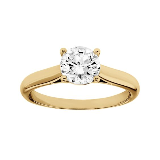 Engagement ring Zurich in 18-carat yellow gold with a brilliant of 1 carat | RenéSim