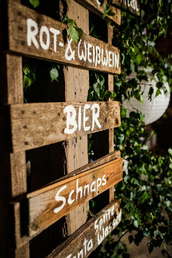 Hochzeit DIY | Getränke Schild selbermachen | Paletten | Bar Schild