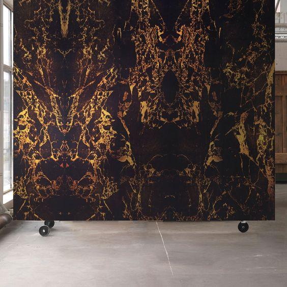 Black Metallic Marble Wallpaper by Piet Hein Eek