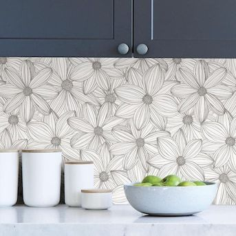 Scott Living 30 75 Sq Ft Taupe Vinyl Floral Self Adhesive Peel And Stick Wallpaper Lowes Com In 2021 Backsplash Wallpaper Peel And Stick Wallpaper Laundry Room Wallpaper