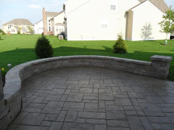 Stamped Concrete Patio With Sitting Wall Stamped Concrete Patio Patio Stones Concrete Patio