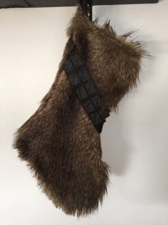 The Chewbacca stockings were hung by the chimney with care!