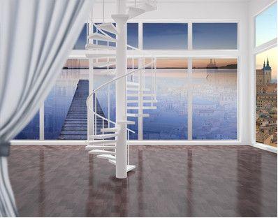 XXL FensterBild Flußsteg bei Sonnenuntergang