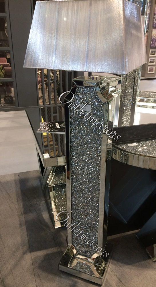 Diamond Crush Crystal Sparkle Shaped Wide Mirrored Tall Floor Lamp Silver Shade Tall Floor Lamps Silver Floor Lamp Floor Lamp