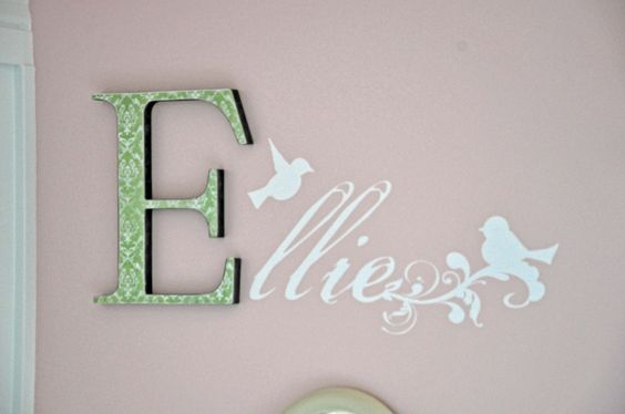Poppyseed Projects personalized bird decals with wood letter